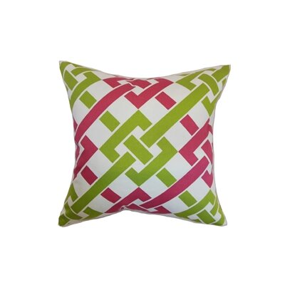 Fetlar Cotton Throw Pillow Color: Rose Green, Size: 18x18
