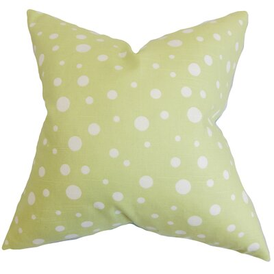 Bebe Polka Dots Cotton Throw Pillow Color: Celery, Size: 18 x 18