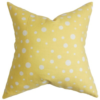 Bebe Polka Dots Cotton Throw Pillow Color: Marigold, Size: 22 x 22