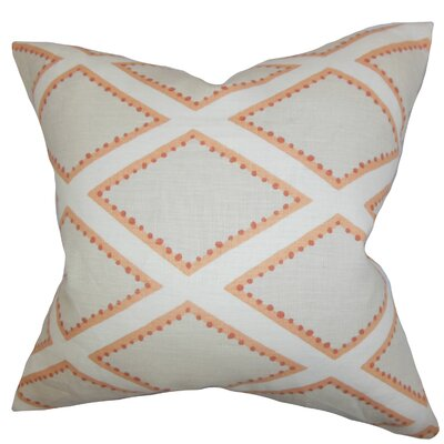 Alaric Geometric Cotton Throw Pillow Color: Gray Coral, Size: 18 x 18