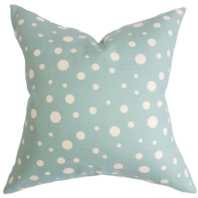 Bebe Polka Dots Cotton Throw Pillow Color: Sea, Size: 22 x 22