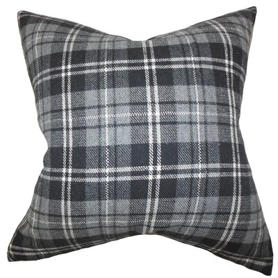 Baxley Plaid Wool Throw Pillow Color: Gray, Size: 18 x 18