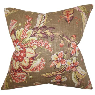 Penton Floral Throw Pillow Color: Toast, Size: 18 x 18