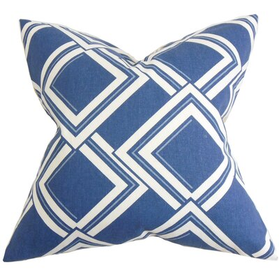Jersey Geometric Throw Pillow Cover Color: Blue