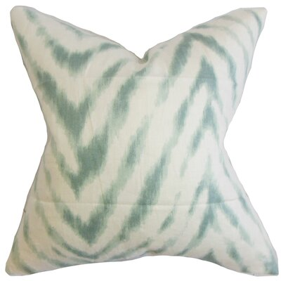 Quay Zigzag Linen Throw Pillow Color: Aqua, Size: 18 x 18