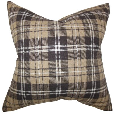 Baxley Plaid Wool Throw Pillow Color: Brown, Size: 18 x 18