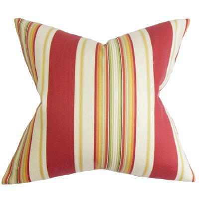 Douce Stripes Cotton Throw Pillow Color: Red, Size: 18 x 18