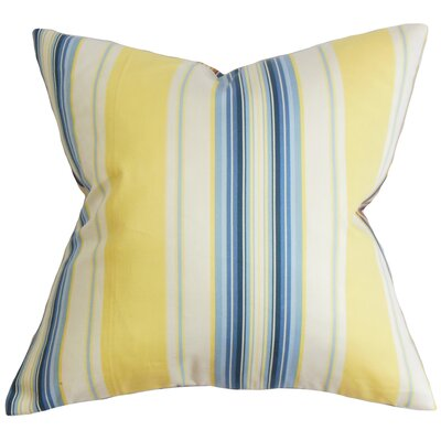 Douce Stripes Cotton Throw Pillow Color: Blue/Yellow, Size: 18 x 18