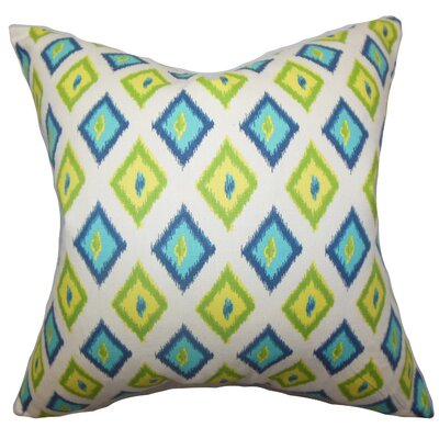 Ipomens Cotton Throw Pillow Color: Green / Blue, Size: 18 x 18