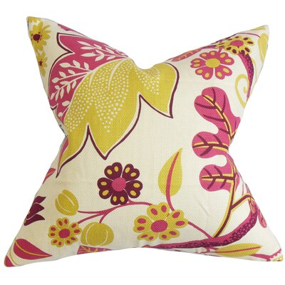 Ashville Floral Cotton Throw Pillow Cover Color: Pink