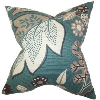Prys Floral Cotton Throw Pillow Cover Color: Peacock Blue