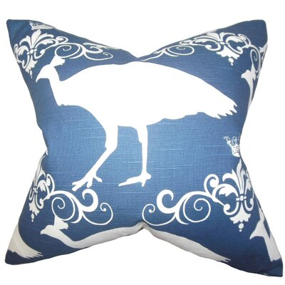 Flannery Animal Print Cotton Throw Pillow Color: Premier Navy, Size: 18 x 18