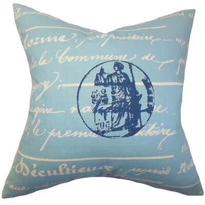 Saloua Typography Cotton Throw Pillow Color: Blue, Size: 22 x 22