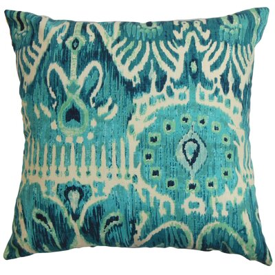 Delron Ikat Cotton Throw Pillow Cover Color: Blue