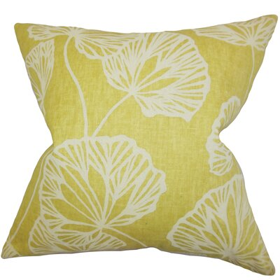 Fia Floral Throw Pillow Color: Yellow, Size: 18 x 18