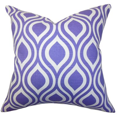 Haley Geometric Cotton Throw Pillow Color: Purple, Size: 18 x 18