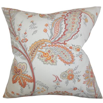 Dilys Floral Linen Throw Pillow Cover Color: Orange