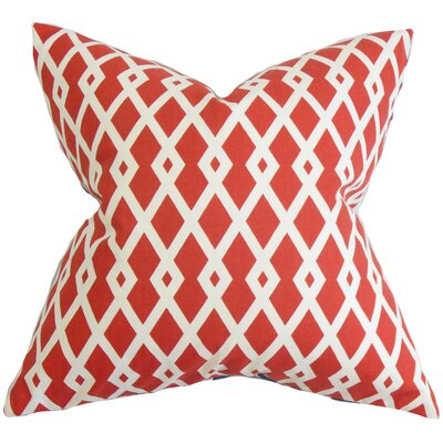 Lexington Geometric Cotton Throw Pillow Color: Pomegranate, Size: 18x18