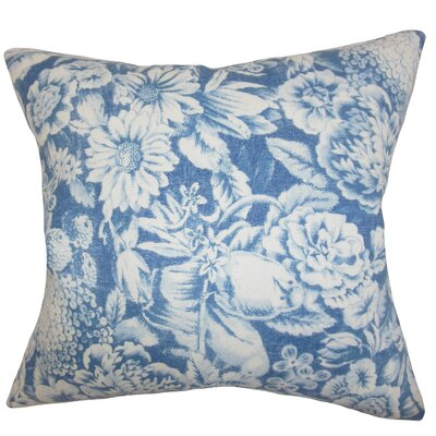 Elspeth Floral Linen Throw Pillow Color: Blue, Size: 18 x 18