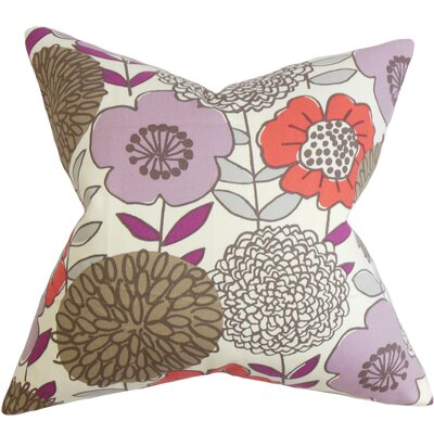 Veruca Floral Cotton Throw Pillow Color: Currant, Size: 18 x 18