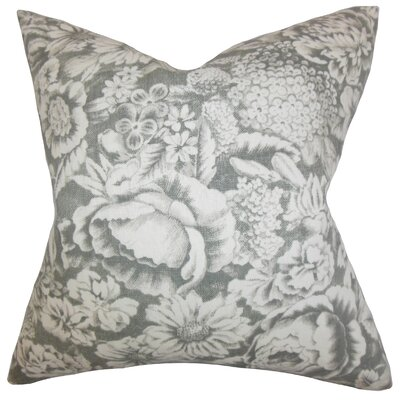 Elspeth Floral Linen Throw Pillow Color: Gray, Size: 18 x 18