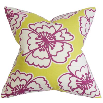 Winslet Floral Cotton Throw Pillow Color: Citron, Size: 24 x 24