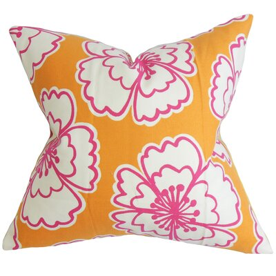 Winslet Floral Cotton Throw Pillow Color: Tangerine, Size: 24 x 24