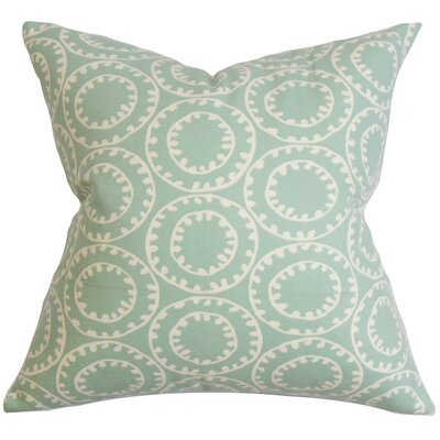 Yowanda Geometric Cotton Throw Pillow Color: Sea Glass, Size: 18 x 18
