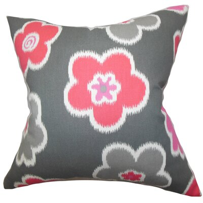 Cece Floral Cotton Throw Pillow Color: Flamingo, Size: 22 x 22