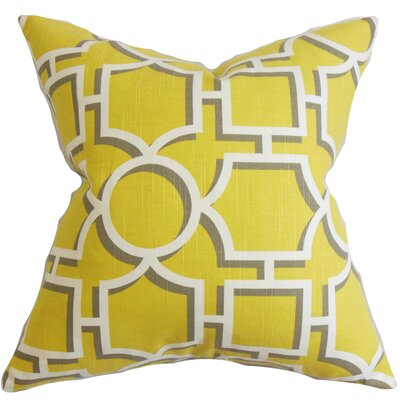 Bullins Geometric Bedding Sham Size: King, Color: Yellow