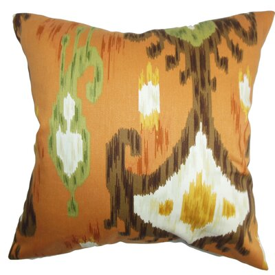 Talisha Ikat Cotton Throw Pillow Cover Color: Orange Brown