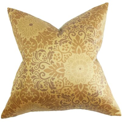 Delanie Floral Cotton Throw Pillow Cover Color: Gold