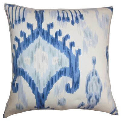 Bringewood Ikat Cotton Throw Pillow Cover Color: Blue White