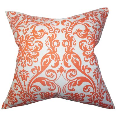 Mankin Damask Cotton Throw Pillow Cover Color: Orange