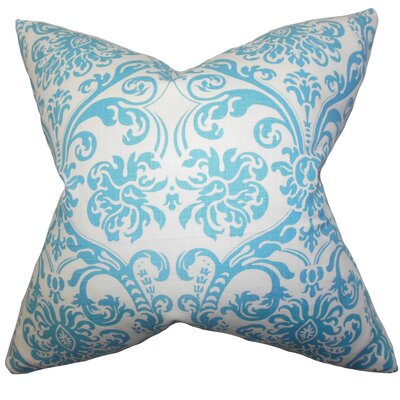 Mankin Damask Throw Pillow Cover Color: Sky Blue