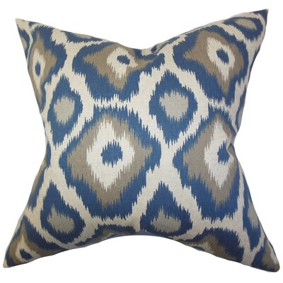 Camillei Ikat Cotton Throw Pillow Color: Indigolite, Size: 24 x 24