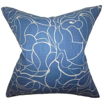 Floral Cotton Throw Pillow Cover Color: Blue