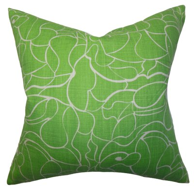 Floral Cotton Throw Pillow Cover Color: Green