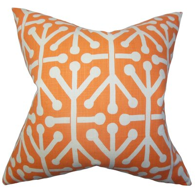 Heath Cotton Throw Pillow Color: Orange, Size: 18 x 18