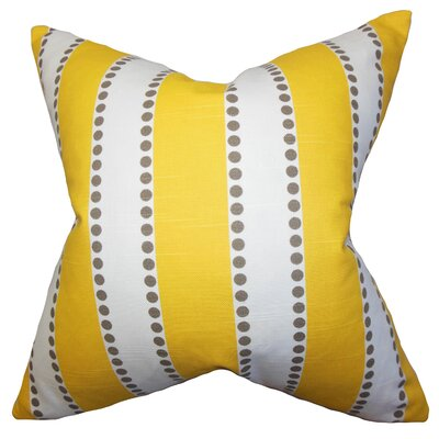Odienne Stripe Cotton Throw Pillow Color: Yellow, Size: 18 H x 18 W