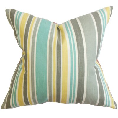 Manila Stripe Cotton Throw Pillow Color: Jade, Size: 22 x 22
