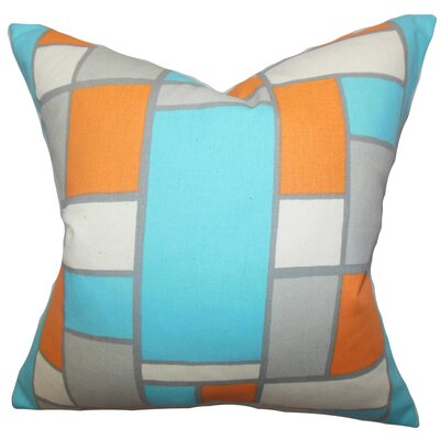 Caitlyn Geometric Cotton Throw Pillow Cover Color: Blue Orange