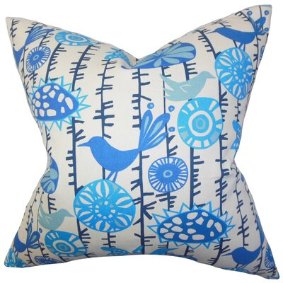 Nettle Floral Cotton Throw Pillow Color: Artic Blue, Size: 22 x 22