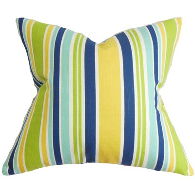 Manila Stripe Cotton Throw Pillow Color: Pool, Size: 18 x 18