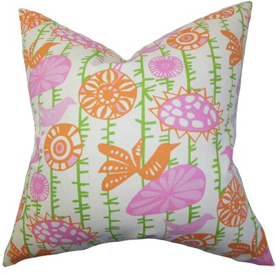 Patterson Floral Cotton Throw Pillow Cover Color: Pink