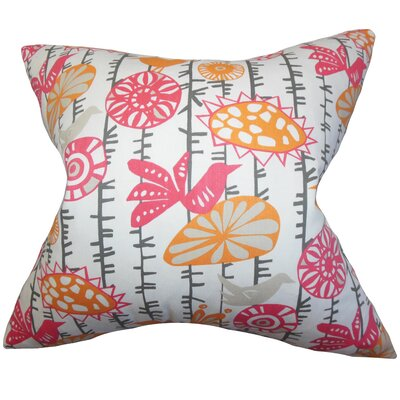 Patterson Floral Cotton Throw Pillow Color: Sherbet, Size: 18 x 18