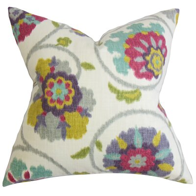 Aspendale Floral Cotton Throw Pillow Color: Red Jade, Size: 24 x 24