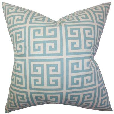 Dufault Greek Key Cotton Throw Pillow Cover Color: Blue
