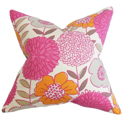 Veruca Floral Cotton Throw Pillow Cover Color: Pink
