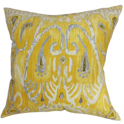 Delron Ikat Cotton Throw Pillow Cover Color: Yellow